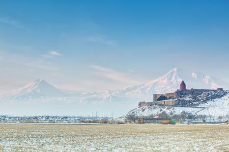 armenian: Ancient Armenian church Khor Virap with Ararat on  background.