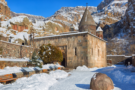 Geghard Monastery in Armenia in winter Stock Photo