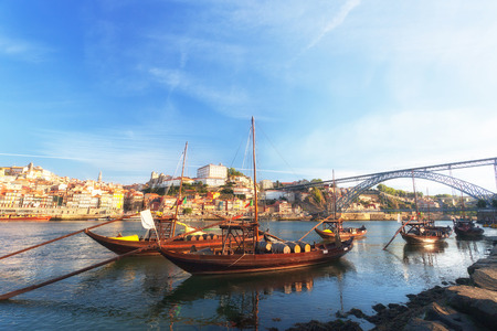 traditional boats with wine barrels, old Porto, Portugal