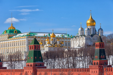 old center: Russia Moscow Kremlin and river view in winter