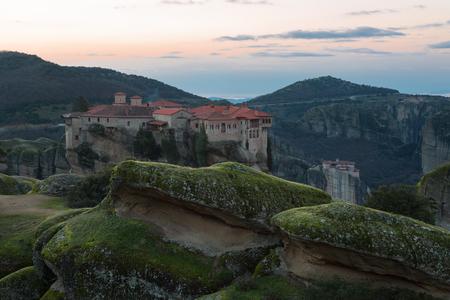 Varlaam Monastery on sunrise , Meteora, Trikala region, Greece