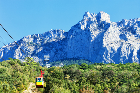 ropeway on Ai-Petri. Ai-Petri - the mountain in the Crimean Mountains as a part of the massif Ai-Petri a plateau