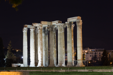 Temple of Olympian Zeus in night, Athens, Greece. Stock Photo