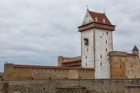 View of Narva Castle with tall Hermans tower. Estonia