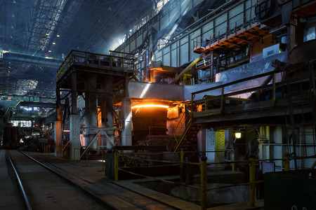 Metal smelting furnace in steel mills Stock Photo