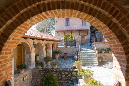 monasteri: Interior Holy Monastery of the Great Meteoron at the complex of Meteora monasteries in Greece Archivio Fotografico