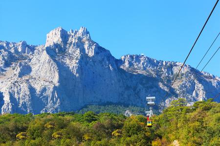 ropeway on Ai-Petri. Ai-Petri - the mountain in the Crimean Mountains as a part of the massif Ai-Petri a plateau