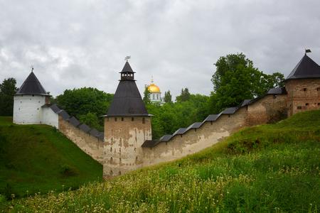 Pskov-Caves Monastery or The Pskovo-Pechersky Dormition Monastery on summer, Russia