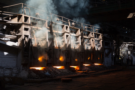 ferrous foundry: Working open hearth furnace at the metallurgical plant