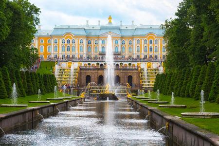 PETERHOF, SAINT-PETERSBURG, RUSSIA - JUNE 20, 2016: Grand Cascade in Peterhof palace was included in the UNESCO World Heritage List
