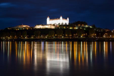 Bratislava castle in evening twilight, Slovakia