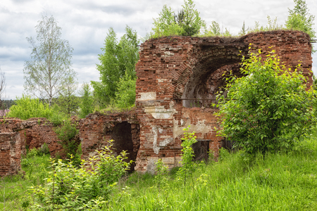 Ruins of an old brick building, overgrown with trees