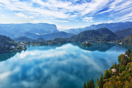 europeans: Church on island in Lake Bled, top view, Slovenia