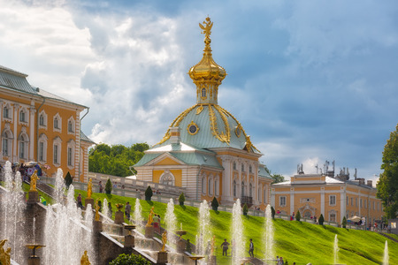 PETERHOF, RUSSIA - JUNE 20,2016: View of the Church of Grand Palace in Peterhof, Russia. Peterhof Palace and Gardens complex is recognized as a UNESCO World Heritage Site