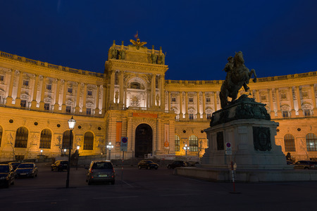 VIENNA, AUSTRIA - APRIL 19, 2016: Night view at Hofburg Palace and Austrian Habsburg. Statue of Emperor Joseph II