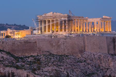 Parthenon of Athens at sunset, Greece Stock Photo