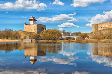 View of Narva Castle with tall Hermans tower in day. Estonia