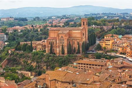 Aerial view of Basilica of San Domenico (Basilica Cateriniana) is basilica church in Siena, Tuscany, Italy