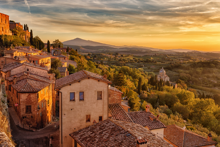Landscape of the Tuscany seen from the walls of Montepulciano in sunset, Italy