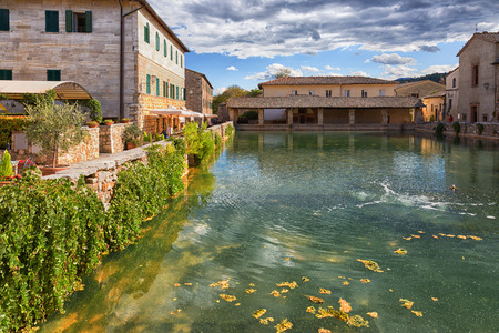 a bathing place: Old village Bagno Vignoni in sunny day, Tuscany, Italy