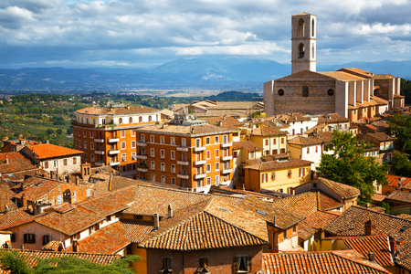Perugia - a view of the old town and the Basilica di San Domenico, Umbria Stock Photo