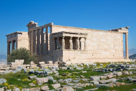 ancient temple Erechteion in sunny day,  Acropolis, Athens, Greece Stock Photo