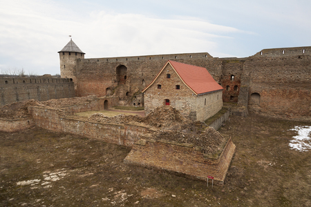 Ivangorod fortress on Narva river. Russia Stock Photo