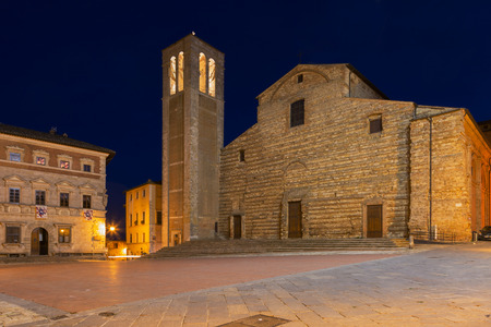 Central square in Montepulciano at night, Italy