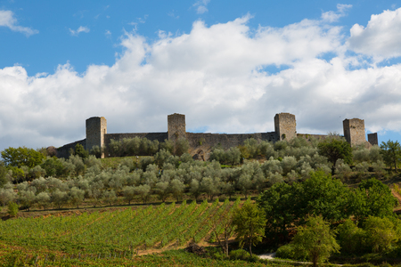 View of ancient fortress of Monteriggioni, Tuscany. Italy