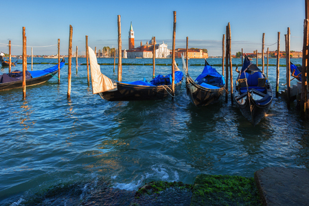 Gondolas in  Grand Canal, Venice, Italy Stock Photo
