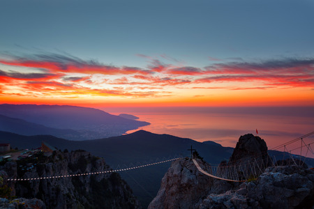 Sunrise from mountain top Ai-Petri in the Crimea