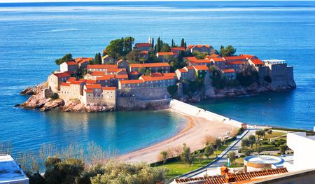 Sveti Stefan island in Budva in a beautiful winter day, Montenegro