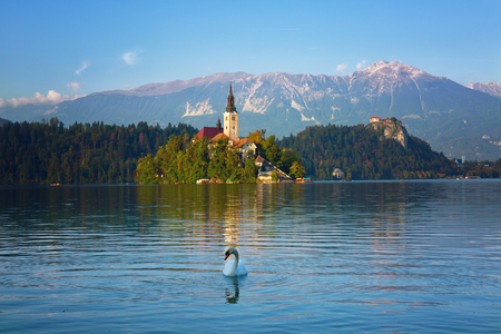 Church on island in Lake Bled, at sunset, Slovenia