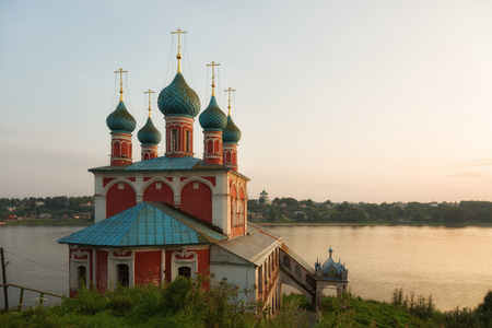 Church of an icon of the Mother of God Kazan on sunset. Tutaev, Yaroslavl region. Russia Stock Photo