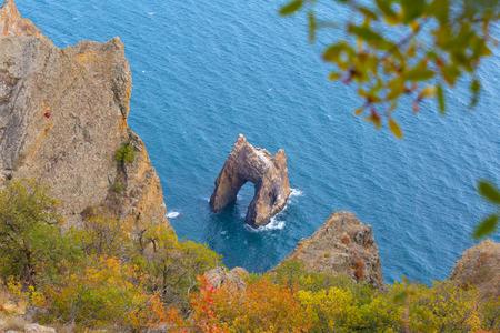 Famous Golden Gate rock in Karadag, top view , Crimea