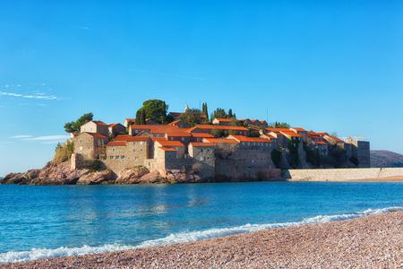 Sveti Stefan island in Budva, Montenegro 스톡 콘텐츠