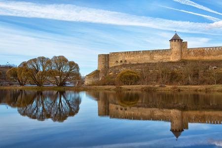 Ivangorod fortress on Narva river. Russia Stock Photo