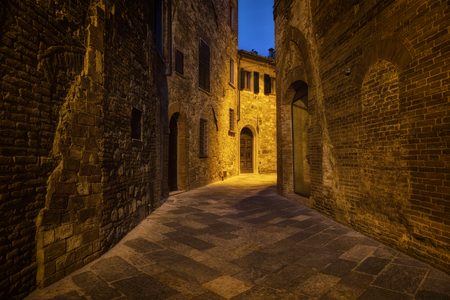 Nighttime ancient street of the city of Montepulciano in Tuscany, Italy Reklamní fotografie