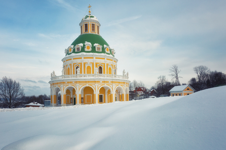 Baroque style church of the Nativity of the Virgin in Podmoklovo (XVIII century) in winter day, Moscow region, Russia