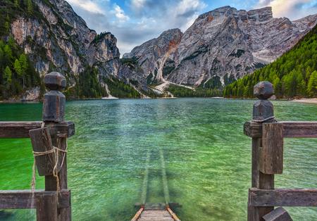 Braies lake and Dolomiti on sunrise, Trentino Alto Adige, Italy Stock Photo