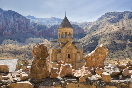 Noravank monastery complex built on ledge of narrow gorge.  Tourist and historical place. Armenia 版權商用圖片