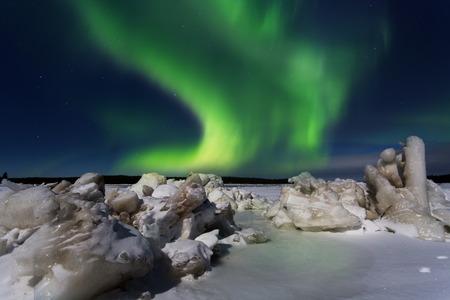 Green Aurora borealis , Russia