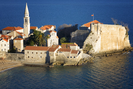 Top view of the old town Budva, Montenegro. 写真素材