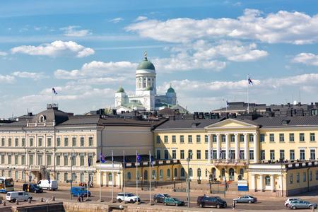 FINLAND, HELSINKI - MAY 15, 2018: Helsinki cityscape and Helsinki Cathedral, Finland