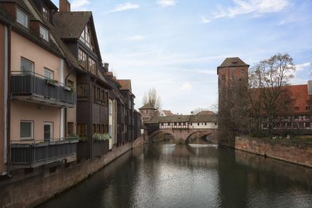 Nuremberg city, Germany - River Pegnitz architecture with Henkerbrige.