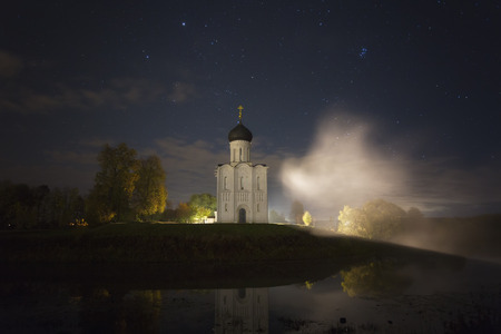 Church of Intercession upon Nerl River. (Bogolubovo, Vladimir region, Golden Ring of Russia) in night 写真素材