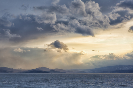 Winter sunset on Lake Baikal, Russia