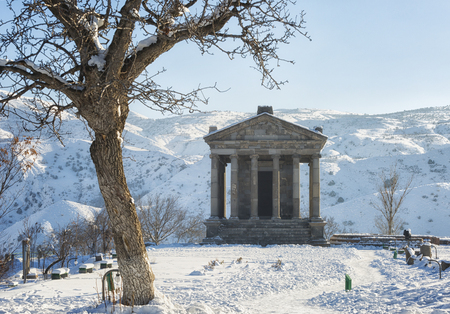 Garni Temple in Armenia, in sunny winter day