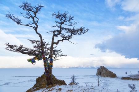 Lake Baikal. Island Olkhon. Shamanka Rock on a  winter morning