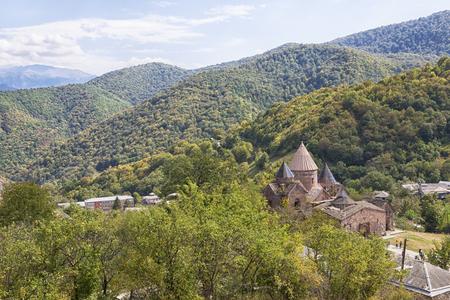 Goshavank-Armenian medieval monastery complex XII-XIII centuries in the village of Gosh in sunny day , Armenia